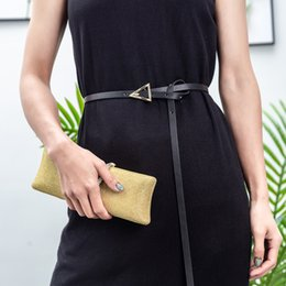 ladies decorative belts 2020 - New Women Leather Small Knot Thin Belt Metal Round Triangle Buckle Waist Belts Designer Ladies Dress Decorative Waistban