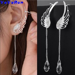 Indian Ear Chain Australia - wholesale 12pairs lot crystal wing water clip earring for woman fear cuff feather long chain bead charm clip earring ear cuff jewelry