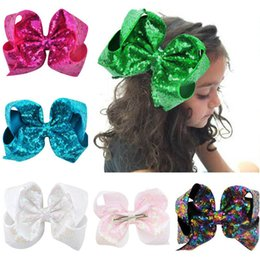 Large Girls Hair Clips Australia - wholesale 20 Colors 8 inch Big Rainbow Large Hair Bow Sequins Ribbon Hairgrips With Alligator Clips Headwear Bowknot Girls Hair Accessories
