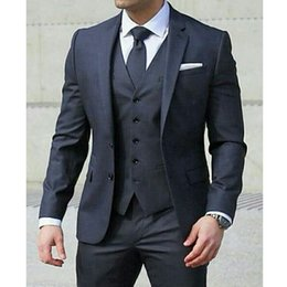 $enCountryForm.capitalKeyWord NZ - Navy Business Men Suits for Wedding Tuxedos Notched Lapel Three Piece Latest Style Jacket Pants Vest Tailor Made Blazer