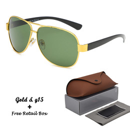 $enCountryForm.capitalKeyWord Australia - High Quality Sunglasses women men Driving Shades vintage Gold Pilot Frame glass lens Punk Sun Glasses Male oculos de sol with Retail box