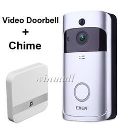 EKEN Campainha De Vídeo Inteligente V5 + Indoor Chime 720 P HD Wifi Câmera de Segurança em Tempo Real de Visão Noturna, PIR Motion Detection APP Controle