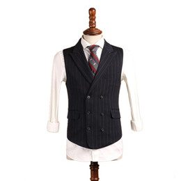 $enCountryForm.capitalKeyWord UK - Black Polyester Tweed Vests Slim Mens Suit Vest Custom Made Wool Prom Tuxedo Vest Men Wedding Waistcoat Mens Dress Striped Vests Groom Vest