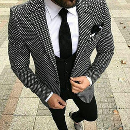 $enCountryForm.capitalKeyWord Australia - New Design Slim Fit Black White Pattern Wedding Suits for Men Groom Tuxedos Tweed Blazer 3 Piece Custom Prom Party Suit Men