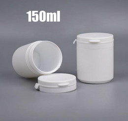 $enCountryForm.capitalKeyWord Australia - 20pcs 150ml Plastic White Tearing Jar, 150g Empty Packing Bottle, Powder Tablet Pill Vitamin Holder With Wide Mouth Tearing Flip Cover