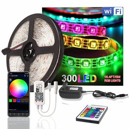 diode controller Canada - WiFi 5050 LED Strip DC 12V Waterproof Flexible RGB Tira Led Light Strip Diode Tape 60 LEDs m 5M IR WiFi Controller Power Adapter