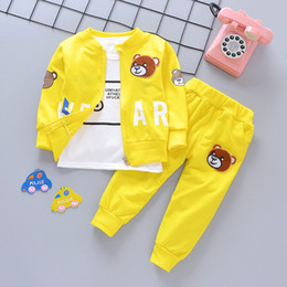 Wholesale turtle boy online – design 3pcs Children Bear Clothes Baby Boys Clothing Sets Autumn Winter Long Sleeve Tracksuits Turtle Neck Outfit For Year