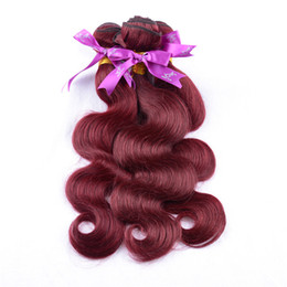 vip weaves Canada - Top grade Vip beauty hair cheap 99j virgin brazilian body wave hair extension 3pcs wine red 99j hair burgundy weave 8-32inch 100g ps