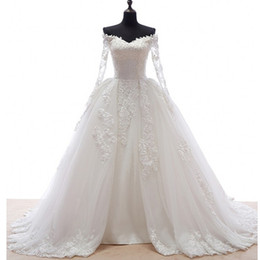 $enCountryForm.capitalKeyWord NZ - Vintage Lace Bridal Dresses With Tulle Ovderskirt 2019 Long Sleeves Dubai Wedding Dres Off Shoulder Plus Size Casamento Vestido