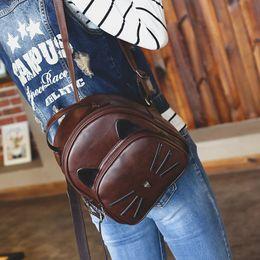 $enCountryForm.capitalKeyWord Australia - 2019 Pu Leather Vintage Cat Backpacks Women Backpacks For Teenage Girls School Bags Lady's Small Backpacks Travel Bags