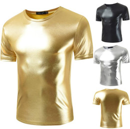 shiny short men Canada - 2019 NEW Shiny Gold Coated Metallic T Shirt Men Night Club Tee Shirt Homme Slim Fit Short Sleeve T-shirt Men Casual Hip Hop T Shirt