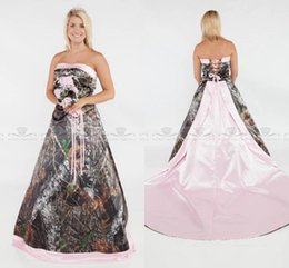 Short Lace Dresses Glamorous Australia - Glamorous 2019 Camo A line Wedding dresses plus size formal pink satin court train bridal gowns strapless sexy lace-up back wedding gowns