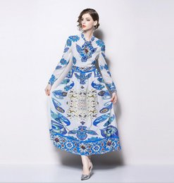 print street style Australia - Blue Dress show women's bow tie long sleeve blue printed pleated Blue and white porcelain dress street style dresses