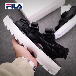46b08ffa9d0 Original FILA II 2 Design Designer de luxe Sandales Noir Blanc Rouge Sandales  D été