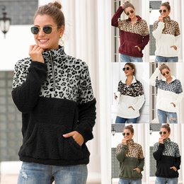 Venta al por mayor de 10 colores Sherpa mujeres leopardo patchwork jerseys invierno manga larga sudadera con cremallera suave vellón suéter Outwear abrigo con tops de bolsillo