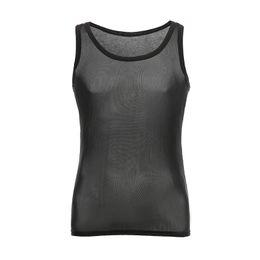1c1ca54faf3 Man Undershirts Male Mesh See Through Tank Tops Underwear Gay Funny Fishnet  See Inner Vest