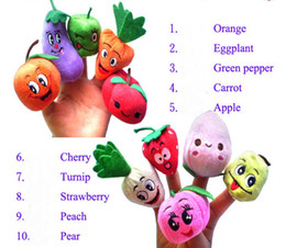 vegetable puppets Canada - 50pcs=5lot Fruit Vegetable Finger Puppets Story telling Doll Kids Children Baby Educational Toys RPG use Role play Toy Group