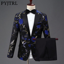 Red Blue Suits Australia - Pyjtrl New Design Mens Stylish Embroidery Royal Blue Green Red Floral Pattern Suits Stage Singer Wedding Groom Tuxedo Costume Y190422
