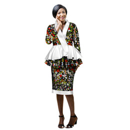 34a900ee1ec spring New african skirt suits Dashiki women elegant lady casual set femme  Bazin Riche cotton plus size two pieces BRW WY2203