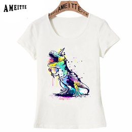 $enCountryForm.capitalKeyWord Australia - Funny Dinosaur T-rex Print T-Shirt Summer Fashion Women T-shirt Harajuku Cartoon Design Girl Tops Ameitte Woman Casual Tees