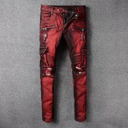 ripped jeans big size NZ - Fashion Streetwear Men Jeans Red Color Slim Fit Ripped Jeans Men Spliced Designer Big Pocket Cargo Pants Size 28-42 Biker