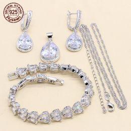 $enCountryForm.capitalKeyWord Australia - Women Bridal Jewelry Set 925 Silver Earrings Chain Pendant Extended Bracelet Water Drop White Cubic Zirconia Christmas Gift
