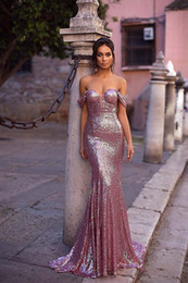 mermaid cap sleeve sequins Australia - Rose Gold Mermaid Sequin Prom Evening Gowns Off The Shoulder Cocktail Party Dress for Bride Cap Sleeves Pageant Dress Plus Size