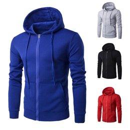 Wholesale Mens Zipper Hoodies Australia - Hoodies Men Brand Male Long Sleeve Solid Color Sportswear Hooded Sweatshirt Mens HoodieTracksuit Sweat Coat Casual Sportswear