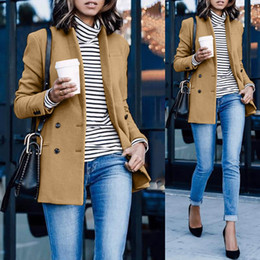 $enCountryForm.capitalKeyWord Australia - women laides coats blazers wool blends 2019 fashion autumn winter korean office clothes Button pocket roupa blusa feminina