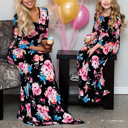 mothers daughters dresses Australia - Mom and Daughter Dress Mommy and me 2019 Blue Floral Printed Long Dress Mother Daughter Dresses Mother Clothes