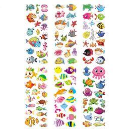 Wholesale Reward Stickers UK - 100 Sheets Ocean Marine Life Animals Aquatic Creatures Scrapbooking Bubble Stickers Emoji Reward Kids Toys Factory Direct Sales