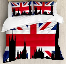 flag jack NZ - Union Jack Duvet Cover Set Silhouette on UK Flag Historic Urban Skyline Bedding Set Royal Blue Black Red
