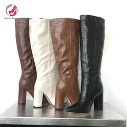 CroCodile boots online shopping - Original Intention Stylish Knee High Wedges Boots Woman Black White Red Brown Crocodile Grain Pointed Toe Fashion Long Boot