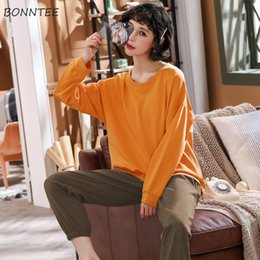 Wholesale womens matching pajamas resale online - Pajamas for Women Solid All Match Round Neck Simple Korean Fashion Top Quality Womens Plus Size Home Clothes Lovely Pamaja Set