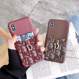 $enCountryForm.capitalKeyWord Australia - Fabric Folio Genuine Leather Wallet Pouch Case Printed Letter D Pendant Bracket Holster Phone Shell Card Slot for iPhone XS Max XR 8