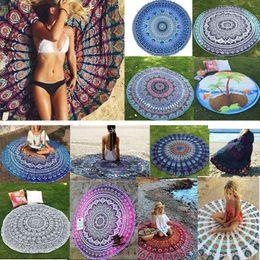 Mandala Serviette de plage ronde Beach Blanket Polyster Imprimé Nappe Bohême Tapisserie Tapis de yoga Housses de plage pique-nique Tapis Châle Wrap HH-C44 en Solde