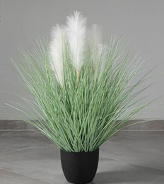 restaurant pots Australia - 90cm pure white color Nordic ins green plant simulation tree bonsai home decoration fake flowers reeds simulation plant potted
