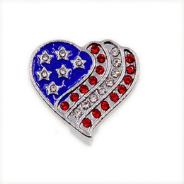 $enCountryForm.capitalKeyWord Australia - Patriot Fashion Heart Flag Slide Charms Full Rhinestone American Flag Sliders For 10mm Bracelet Wristband DIY Jewelry Making