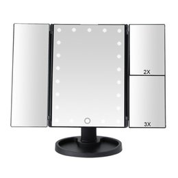 magnifying lights NZ - 22 LED Light Touch Screen Makeup Mirror 1X 2X 3X 10X Magnifying Glass 3 Folding Vanity Compact Mirror Flexible Cosmetics Mirrors Y200114