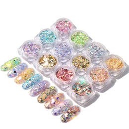 decor glitter Australia - 1 box Holographic Nail Glitter Mix Star Round Heart Flakes Mermaid Mirror Irregular Paillette DIY Sequins Nail Art Decor TR680-1