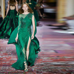 $enCountryForm.capitalKeyWord UK - Dark Green Zuhair Murad 2020 Prom Dresses Long Sleeve Crew Neck Chiffon Sweep Train Formal Wear Chiffon Draped Red Carpet Dress
