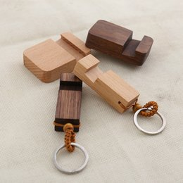 Portable smartPhone stands online shopping - 2 in Universal Portable Walnut Smartphone Stand with Stainless Steel Key Chain Phone Holder Keyrings Rectangle DIY Wood Keychains M798F
