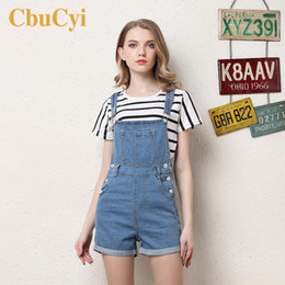 Wholesale denim overalls for women resale online - Women Jeans Jumpsuits Playsuits High Waist Summer Short Denim Overalls for Women Casual Rompers Washed Blue Jeans Playsuit