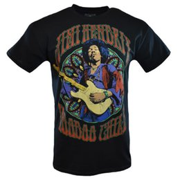 China JIMI HENDRIX Men Tee T Shirt VOODOO Rock Music Vintage s Sleeve Guitar Black NEW Funny free shipping Unisex Casual Tshirt top cheap black color guitar suppliers