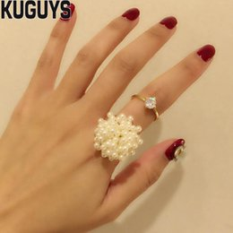 Cluster Rings For Womens Australia - KUGUYS White Pearls Cluster Rings for Womens Fashion Jewelry Bridal Sets High Quality CZ Crystals Opening Ring Party Wedding Accessories
