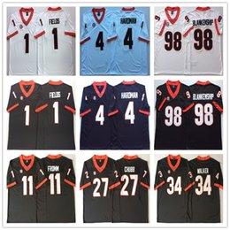 2d16b3232 NCAA Mens Georgia Bulldogs Black white 1 FIELDS 1 MICHEL 3 SMITH 4 HARDMAN  7 SWIFT 11 FROMM Football Jerseys good quality