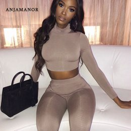 Wholesale dress slim tight for sale – plus size ANJAMANOR Fall Fashion Sexy Two Piece Tights Set Autumn Winter Outfits for Women Matching Sets Lounge Clothes D66AD71