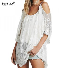 $enCountryForm.capitalKeyWord NZ - New Summer Women Bikini Cover Up Floral Lace Hollow Crochet Swimsuit Cover-Ups Bathing Suit Beachwear Tunic Off Shoulder Halter