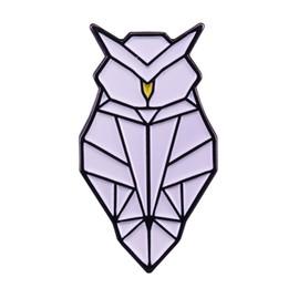 Owl badge online shopping - Owl lapel pin origami art badge bird gift modern coat bag accessory