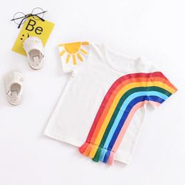 Girls Tassel Shirt Australia - New Kids Baby Girls Tassel Clothes Casual Rainbow T-Shirt Tassel Patchwork Cotton T-shirt Tops